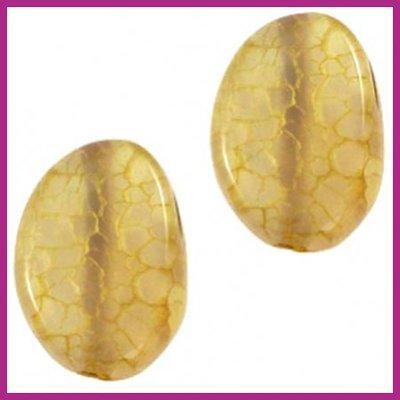 Agaat kraal golvend ovaal yellow brown opal ca. 20x15mm