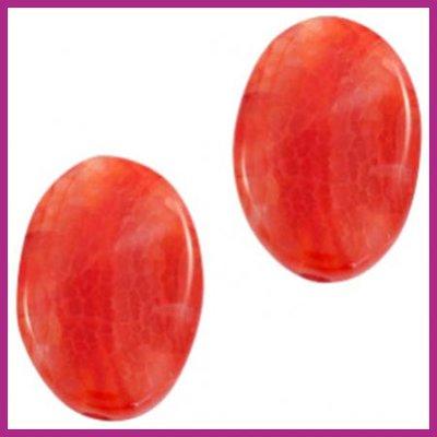 Agaat kraal golvend ovaal orange red opal ca. 30x20mm
