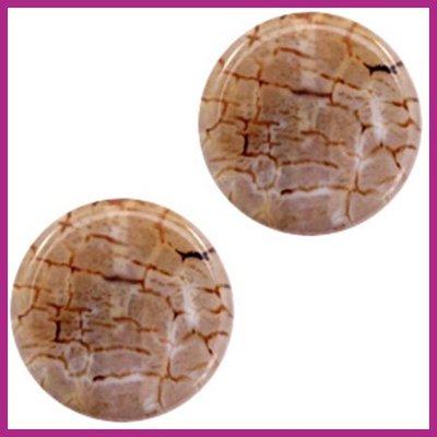 Agaat kraal rond multicolor brown white opal ca. 25mm