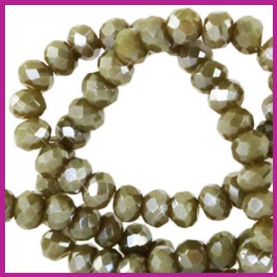 Glaskraal top facet disc 4x3mm dark sage green pearl shine