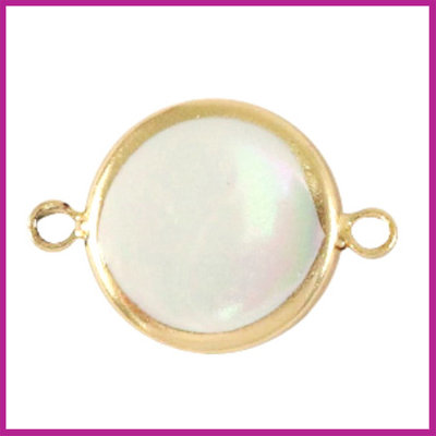 Zoetwaterparel tussenstuk rond 15mm Gold-Natural white