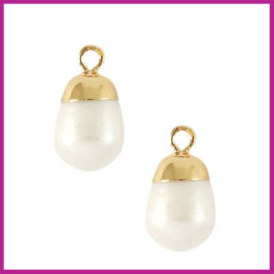 Zoetwaterparel bedel rond Gold-Natural white