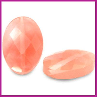 Natuursteen kraal facet ovaal rose pink