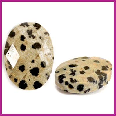 Natuursteen kraal facet ovaal spotted stone greige black