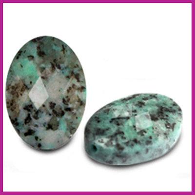 Natuursteen kraal facet ovaal turquoise blue