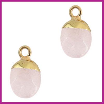 Natuursteen hanger icy pink gold