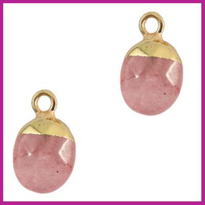 Natuursteen hanger fruit dove pink gold