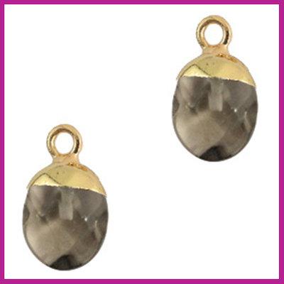 Natuursteen hanger black diamond gold