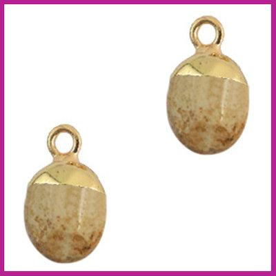 Natuursteen hanger light brown gold