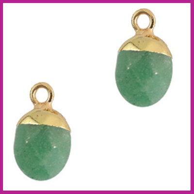 Natuursteen hanger jade green gold