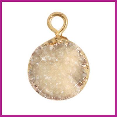 Natuursteen hanger crystal quartz 10mm Grey-gold