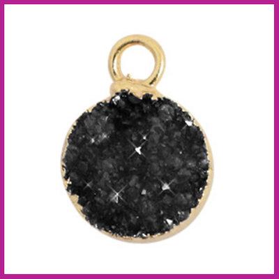 Natuursteen hanger crystal quartz 10mm Black-gold