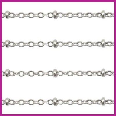 (RVS) Stainless steel jasseron ca. 49cm x 2mm zilver