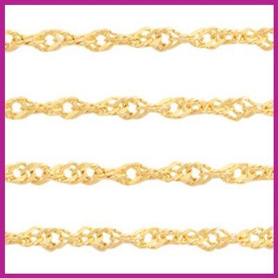 (RVS) Stainless steel jasseron weave goud