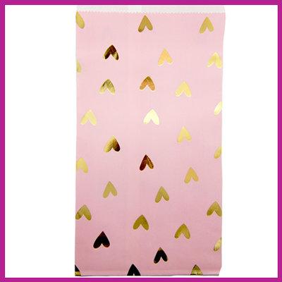 Cadeauzakje papier roze met gouden hartjes