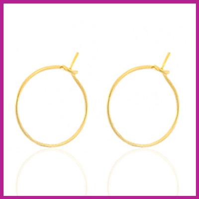 RVS stainless steel sluitbare oorbellen Ø15mm goud