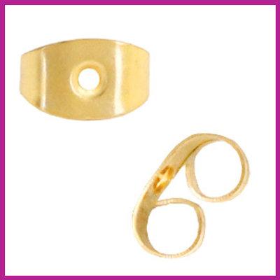 RVS stainless steel oorbel stoppers goud