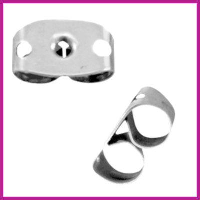 RVS stainless steel oorbel stoppers zilver