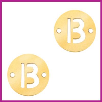 RVS stainless steel tussenstuk initial coin goud B