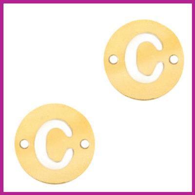 RVS stainless steel tussenstuk initial coin goud C
