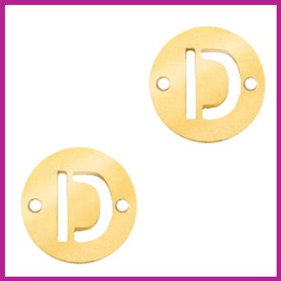RVS stainless steel tussenstuk initial coin goud D