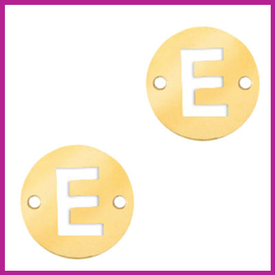 RVS stainless steel tussenstuk initial coin goud E