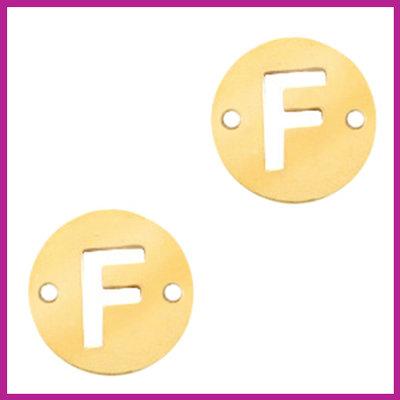 RVS stainless steel tussenstuk initial coin goud F