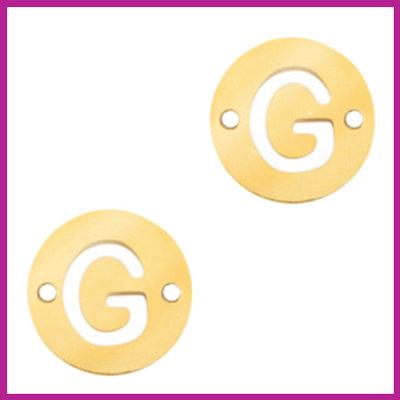 RVS stainless steel tussenstuk initial coin goud G