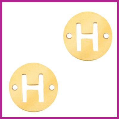 RVS stainless steel tussenstuk initial coin goud H