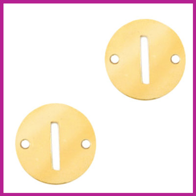RVS stainless steel tussenstuk initial coin goud I