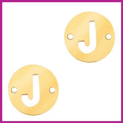 RVS stainless steel tussenstuk initial coin goud J