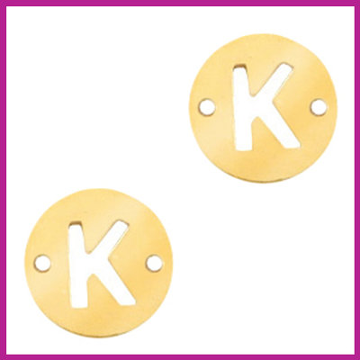 RVS stainless steel tussenstuk initial coin goud K