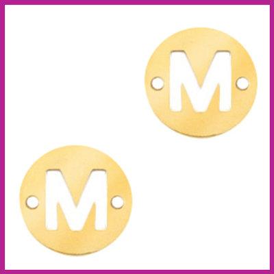 RVS stainless steel tussenstuk initial coin goud M