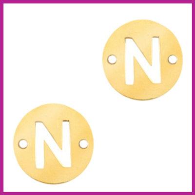 RVS stainless steel tussenstuk initial coin goud N