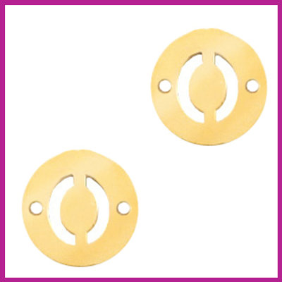 RVS stainless steel tussenstuk initial coin goud O