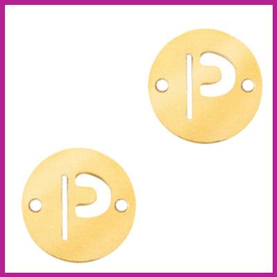 RVS stainless steel tussenstuk initial coin goud P