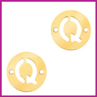 RVS stainless steel tussenstuk initial coin goud Q