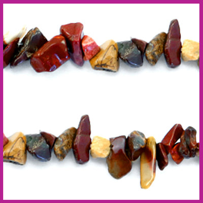 Chip stone kralen multicolor red brown