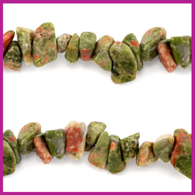 Chip stone kralen olive green brown