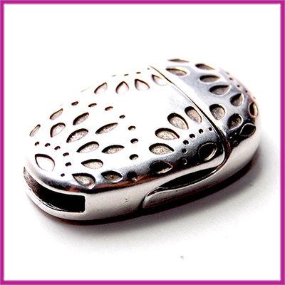 DQ metaal magneetslot ovaal voor 10mm leer Antiek zilver