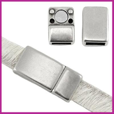DQ magneetslot voor 5 / 6mm plat leer Antiek Zilver