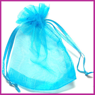 Organza zakje ca. 11x9cm Aqua blauw