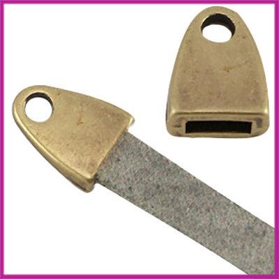 DQ metaal eindkap met oog (voor 5mm plat leer) Antiek brons