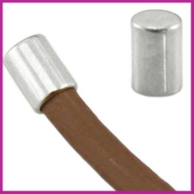 DQ metaal eindkap tube voor 2mm leer Antiek Zilver