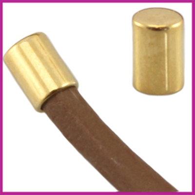 DQ metaal eindkap tube voor 2mm leer Goud