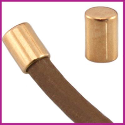 DQ metaal eindkap tube voor 2mm leer Rosegold