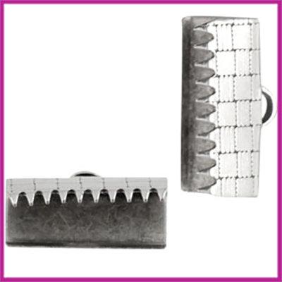 DQ metaal lintklem 15mm Antiek zilver
