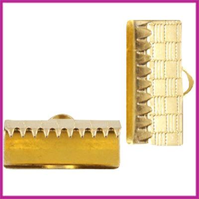 DQ metaal lintklem 15mm Goud