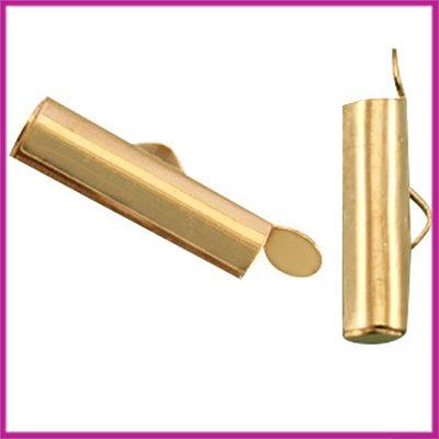 DQ metaal schuif eindkap 15,5x6mm Goud