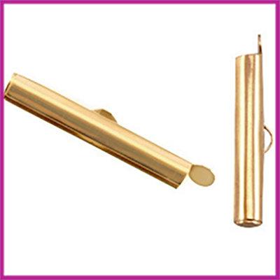 DQ metaal schuif eindkap 25,5x6mm Goud